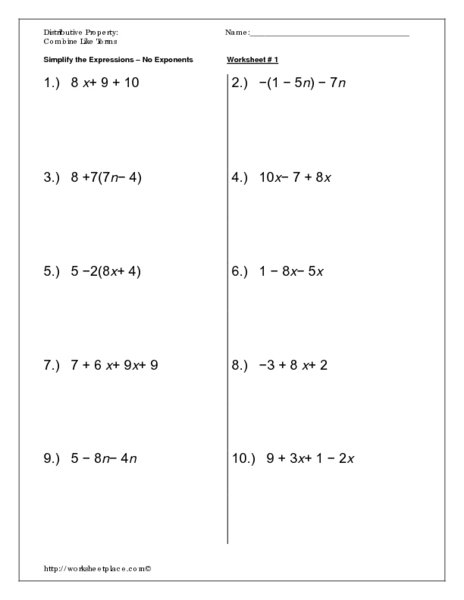 Distributive Property And Combining Like Terms Worksheet Cute
