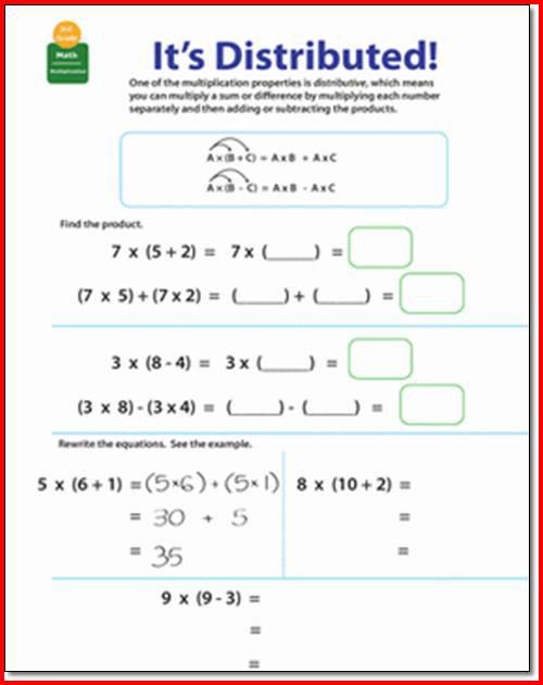Distributive Property Of Multiplication Worksheets 4th Grade