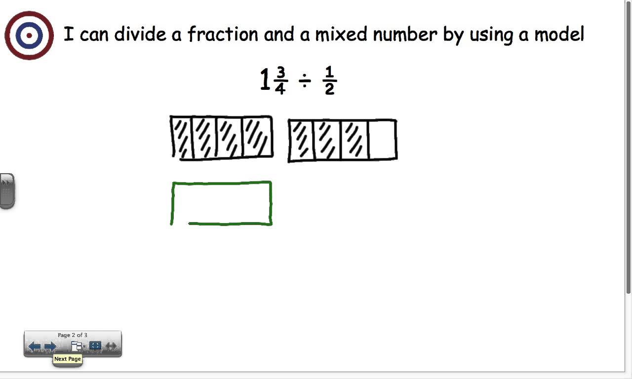 Divide Mixed Number By Fraction Using A Model Youtube Dividing