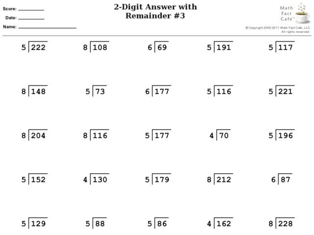 Division With Remainders Worksheet 4th Grade