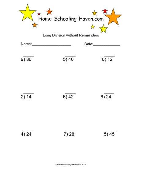 Division Worksheets 3rd Grade No Remainders