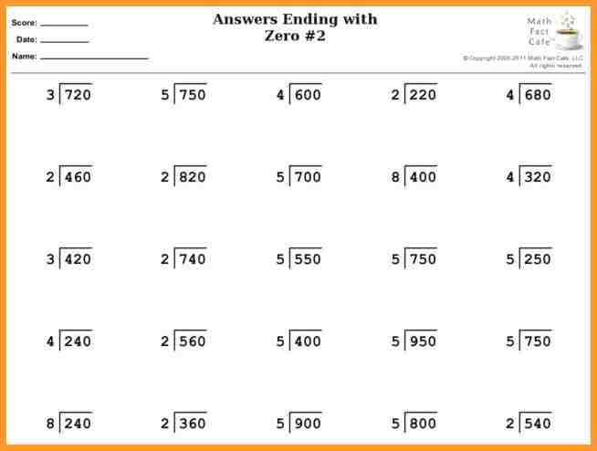 Division Worksheets Grade 4 Fitted Pics Answers Ending With Zero 2