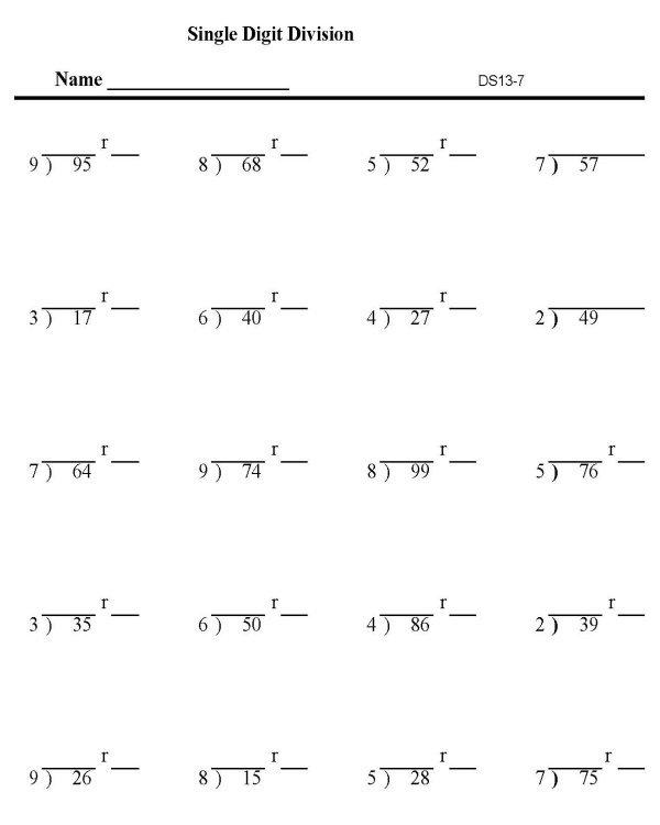 Division Worksheets Single Digit Remainders