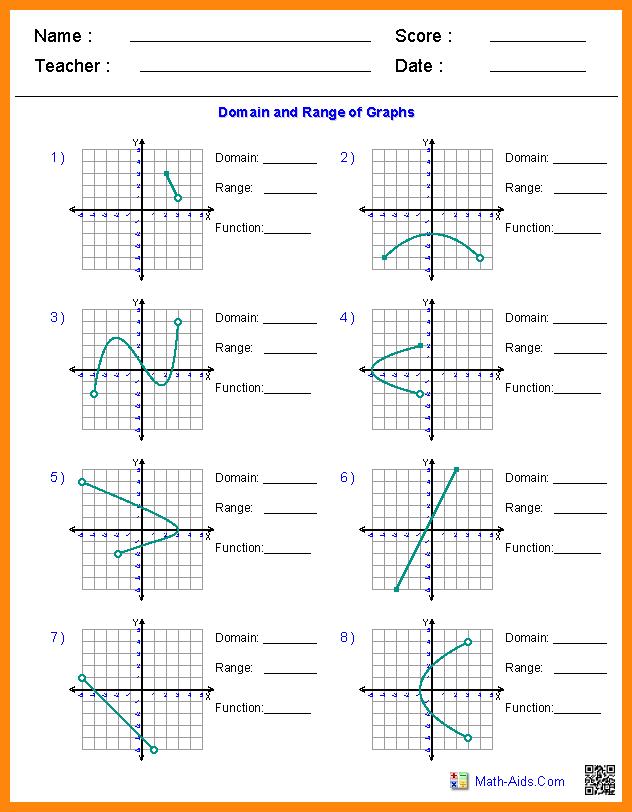 Domain And Range Graph Worksheets