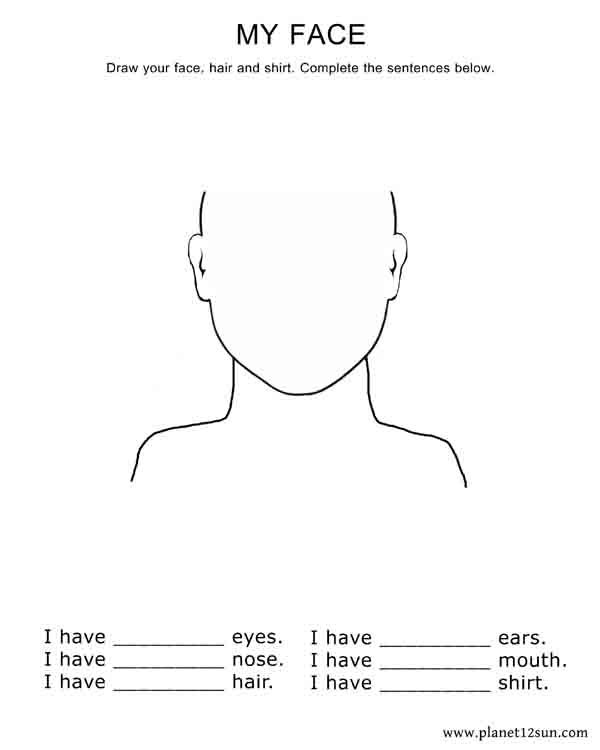 Draw Your Face  Complete The Sentences  Kindergarten + 1st Grade