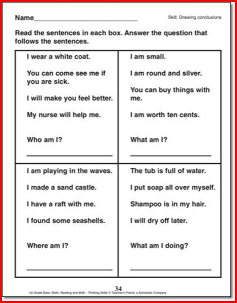 Drawing Conclusions Worksheets Drawing Conclusions Worksheets 1st