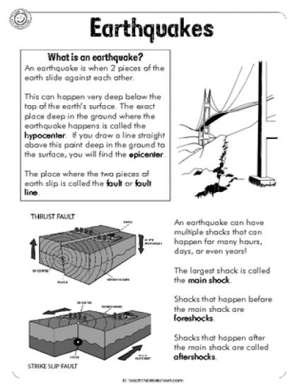 Earthquakes Worksheet Pdf