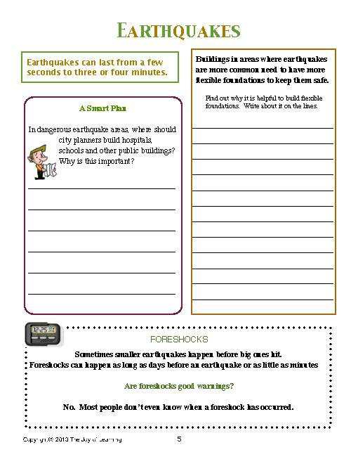 Earthquakes Worksheets Worksheets For All