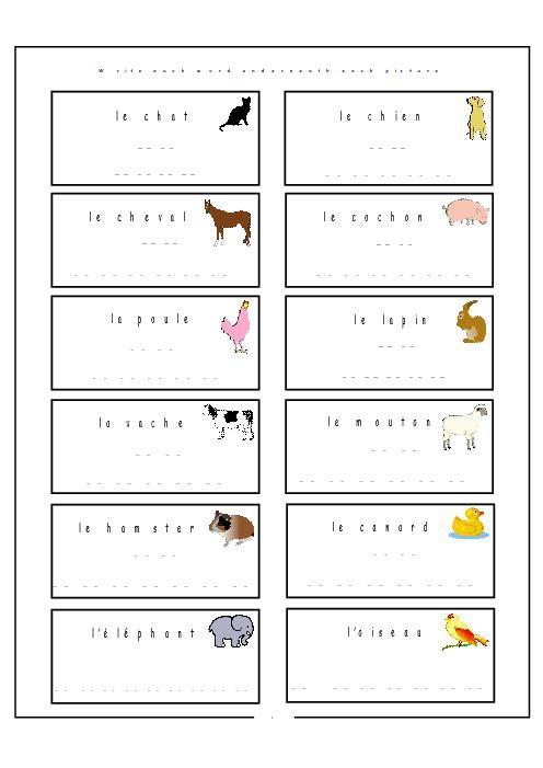 Elementary French Worksheets  6 Worksheet