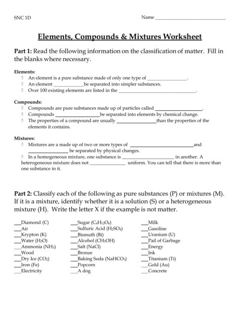 Elements Compounds & Mixtures Worksheet Answers Worksheet
