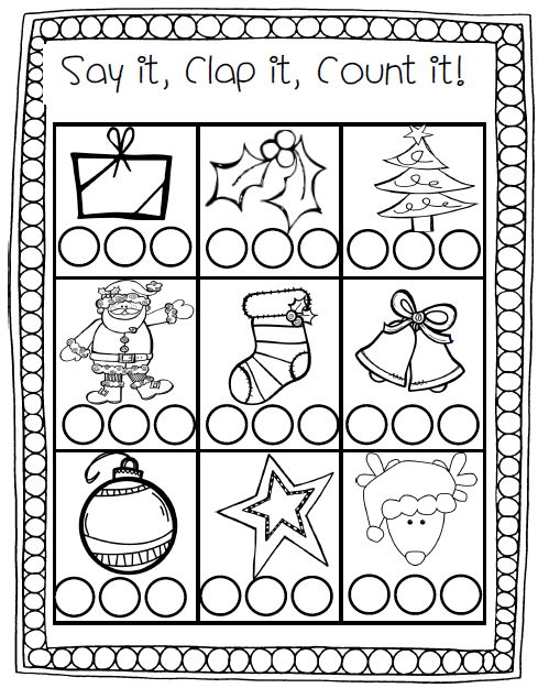Enchanting Free Christmas Rhyming Worksheets For Syllable
