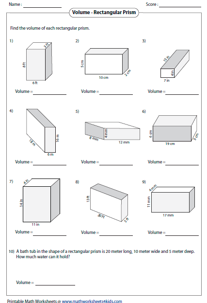 Endearing Volume Of Rectangular Prism Worksheet With Fractions