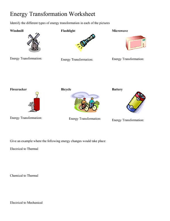 Energy Transformation Worksheet Energy Transformation Worksheet