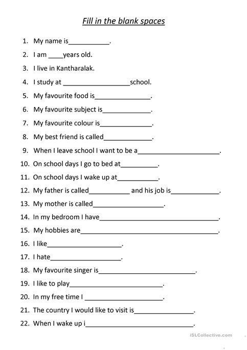 English Conversation Sheet Worksheet