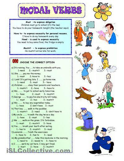 English Modal Verbs Exercises Worksheets