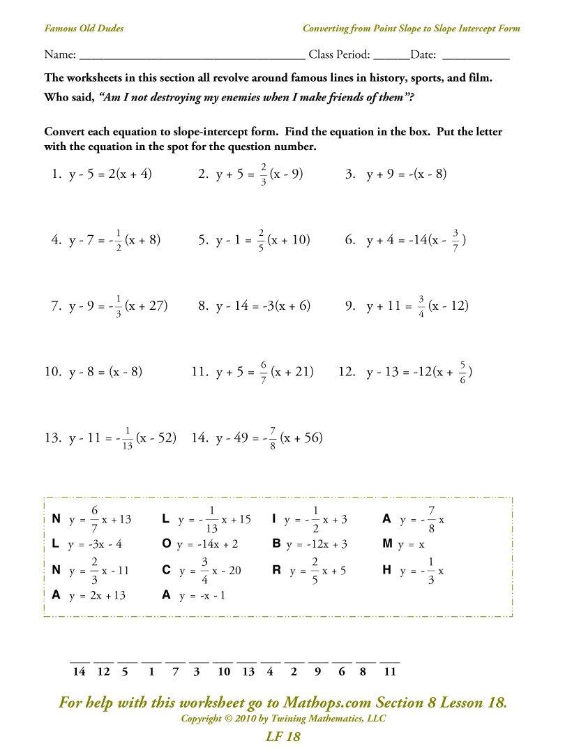 Equations In Standard Form Worksheet