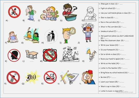 Esl Classroom Rules Worksheet – Gogoheaven Me