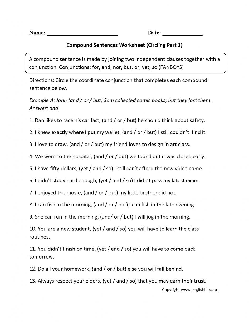 Excel  Grammar Worksheet Middle School  Circling Compound