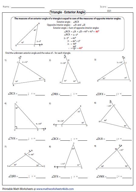 Exterior Angle Theorem Worksheet