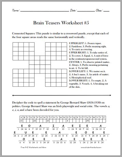 Fair Brain Games Printable Worksheets On Brain Teasers Worksheet 5