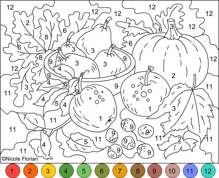 Fall Color By Number Printable 19 Color Number Page Free Printable