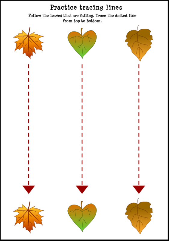 Fall Trace Line Worksheet For Kids