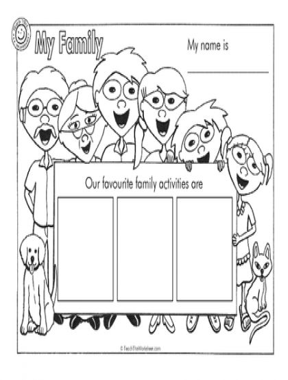 Family Worksheets For Toddlers