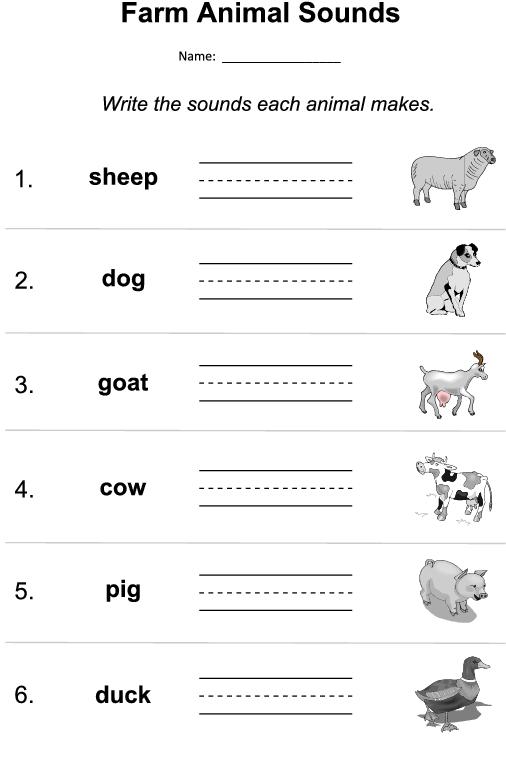 Farm Animal Sounds Worksheet