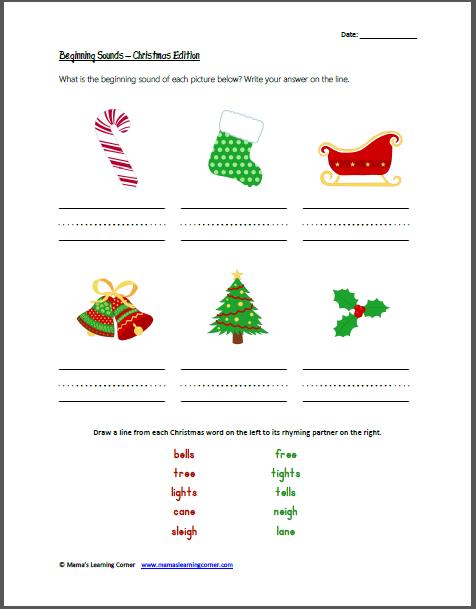 Fascinating Free Christmas Rhyming Worksheets In Christmas