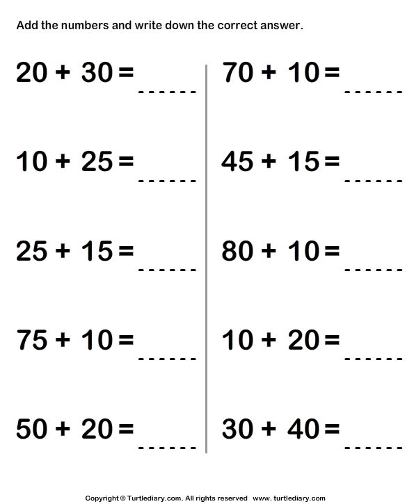 Find Sum Of Two Two Digit Numbers Using Regrouping Worksheet