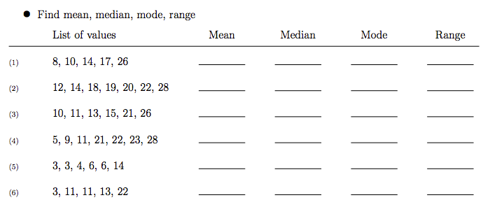 Finding The Mean Median Mode And Range Worksheets