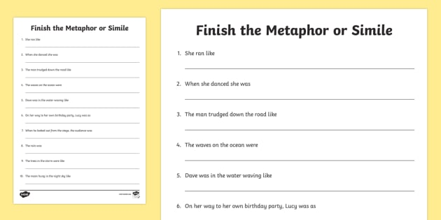 Finish The Metaphor Or Simile Worksheet   Activity Sheet