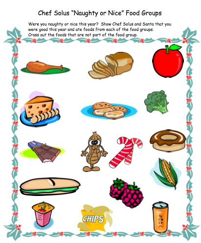 Food Groups Holiday Nutrition Worksheet