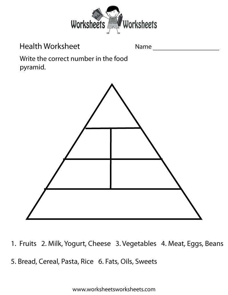 Food Guide Pyramid Worksheets