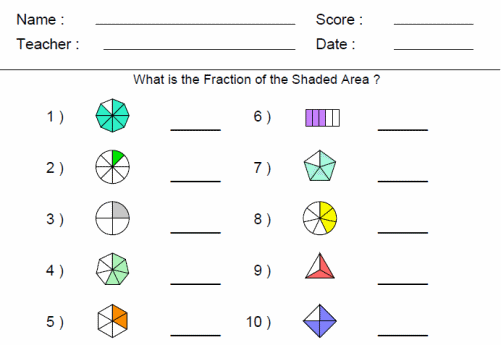 Fraction Worksheets For Third Grade