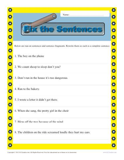 Fragment And Run On Sentence Worksheet Worksheets For All
