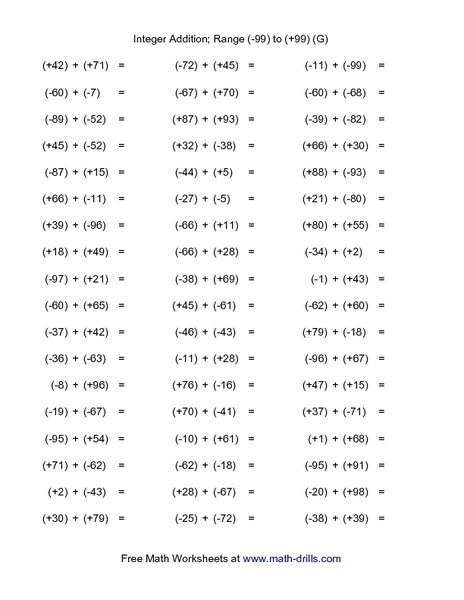 Free 7th Grade Math Worksheets Integers