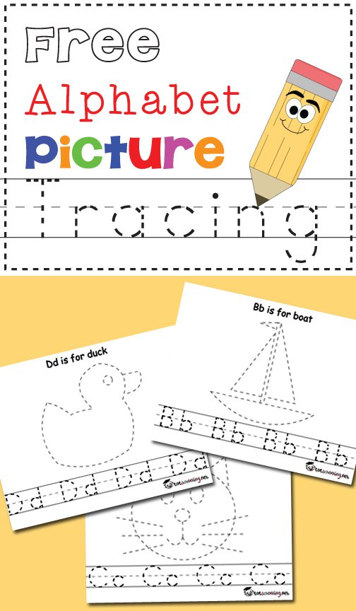 Free Alphabet & Picture Tracing Printables