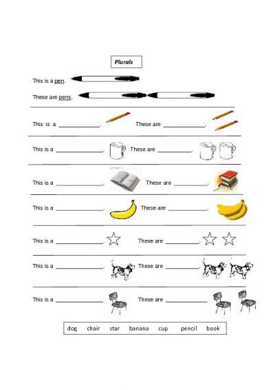 Free English Worksheets Plurals