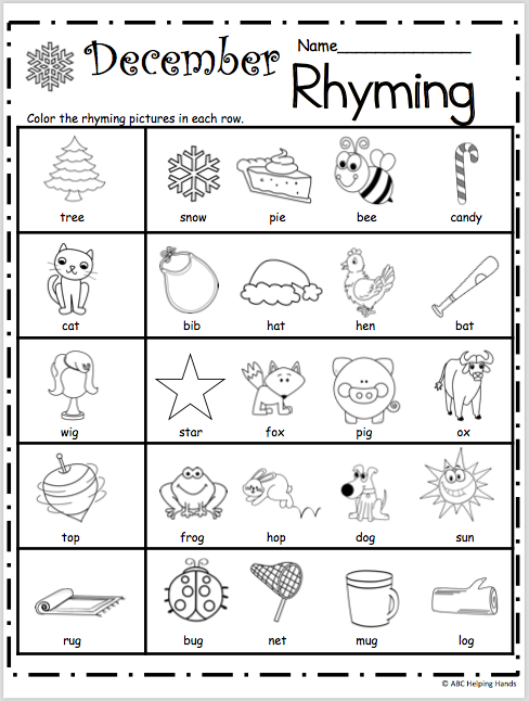 Free Kindergarten Rhyming Worksheets For December