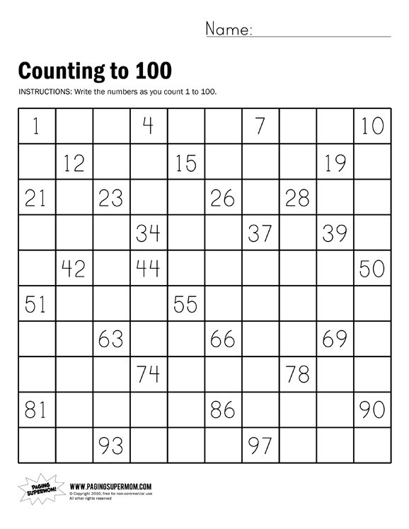 Free Math Worksheets Counting To 100