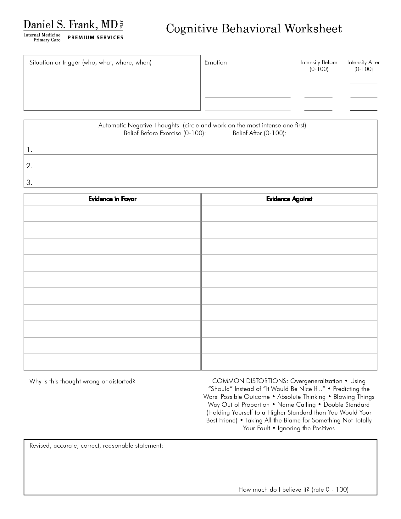 Free Mental Health Worksheets