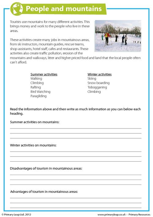 Free Mountains Printable Resource Worksheets For Kids
