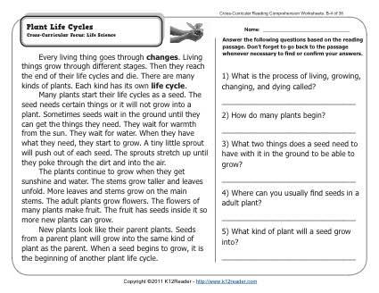 Free Plant Worksheets