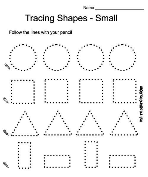 Free Prek Printables Tracing Shapes Worksheet Preschool Math