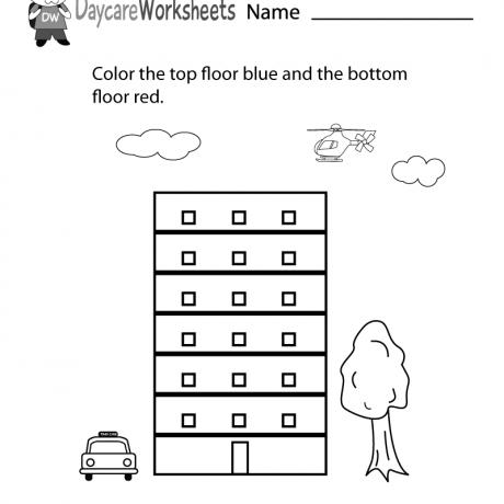 Free Preschool Top And Bottom Worksheet Position Word Worksheets