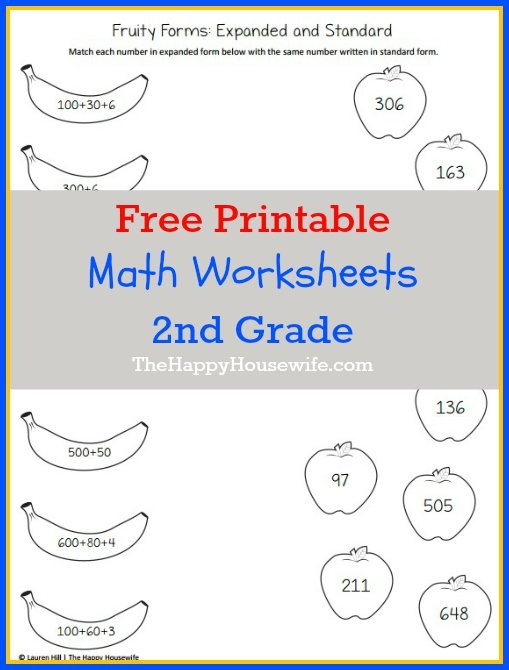 Free Printable Math Worksheets For 2nd Grade Math Worksheets For