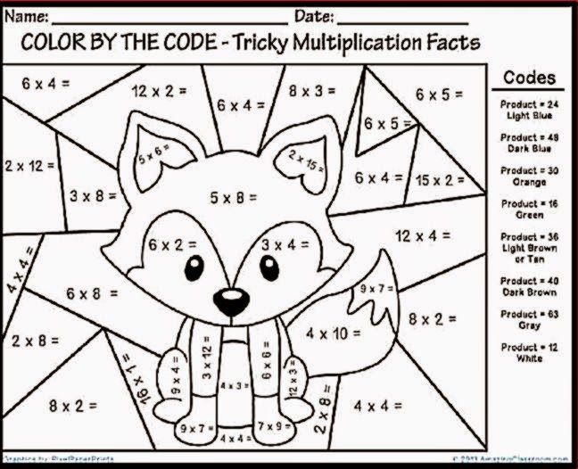 Free Printable Multiplication Coloring Worksheets