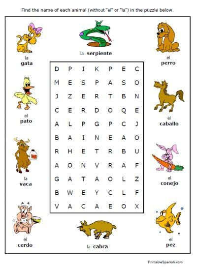 Free Printable Puzzle Worksheet On Animals In Spanish Animales Fun