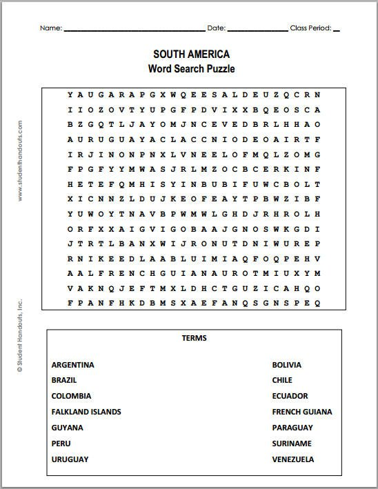 Free Printable South America Word Search Puzzle